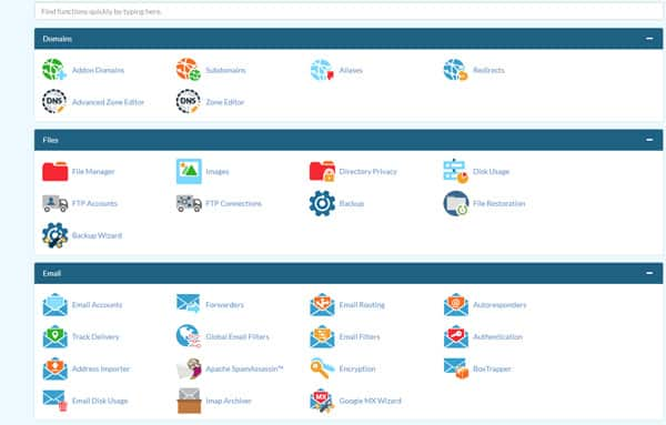 CPanel cpanel CPanel kya hai? cpanel homepage interface subheaders icons 1