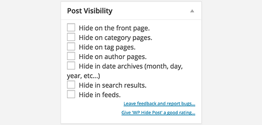 How to hide post in wordpress