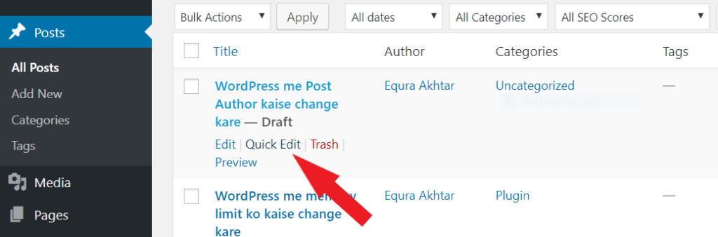 change post author WordPress me Post Author change kaise kare tempsnip 39 1024x338