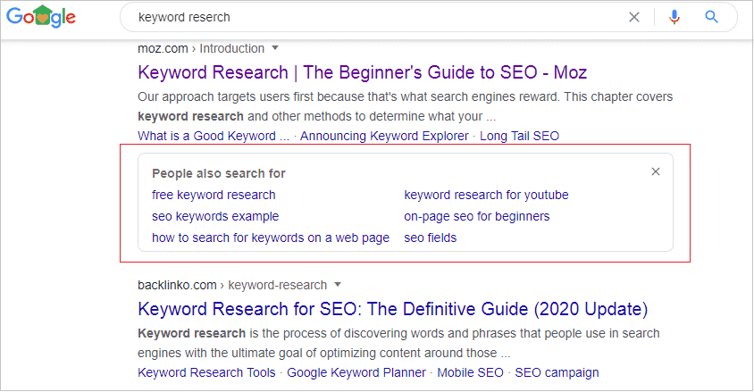 """""""People also search for"""" box"""