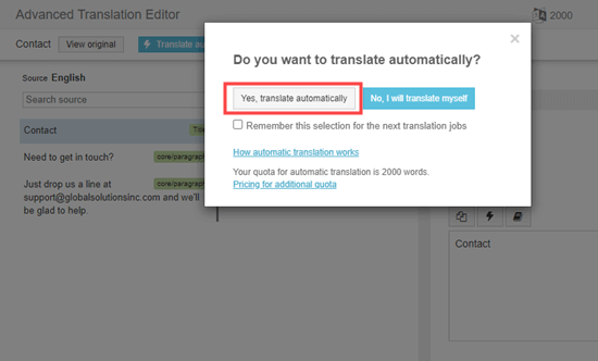 'Yes, translate automatically' button