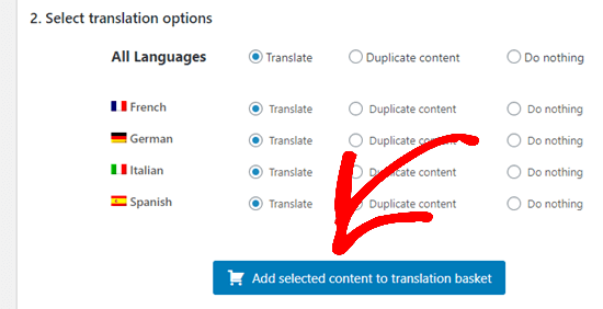 Add selected content to translation basket