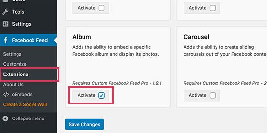 activate album extension
