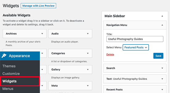 add menu to sidebar