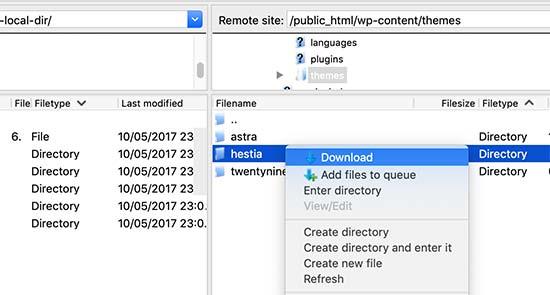 download theme backup