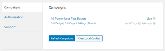 optinmonster campaigns list wordpress