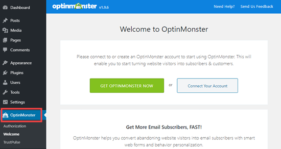 optinmonster connect account