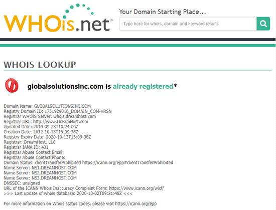 whois lookup results