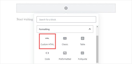 wordpress add custom html block