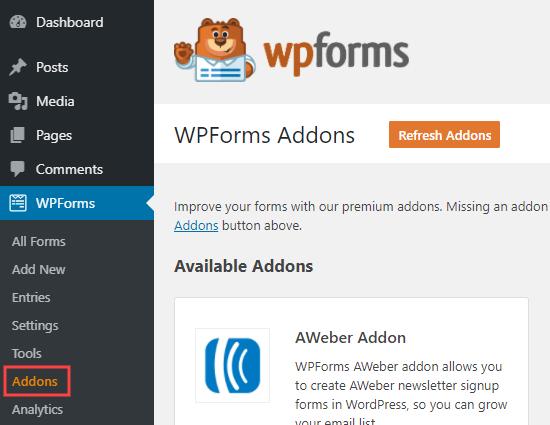 wordpress wpforms addons