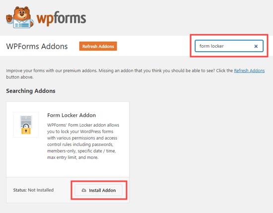 wpforms install form locker addon