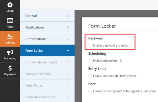 wpforms settings form locker